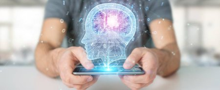 Businessman creating artificial intelligence with mobile phone 3D rendering