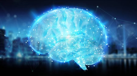 Digital 3D projection of a human brain on blue city background 3D rendering