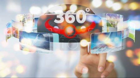 Photo pour Femme d'affaires sur fond flou en utilisant la technologie de lunettes de réalité virtuelle rendu 3D - image libre de droit