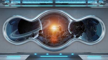 Photo pour Vaisseau spatial tech blanc rond intérieur fenêtre avec vue sur les planètes lointaines système 3d rendu des éléments de cette image fournie par la Nasa - image libre de droit
