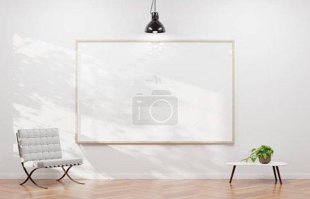 Photo pour Grand cadre horizontal accroché sur un mur blanc dans le rendu 3d contemporaine - image libre de droit