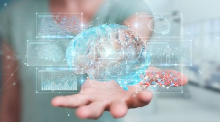 Businesswoman on blurred background using digital 3D projection of a human brain 3D rendering