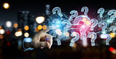 Businessman on blurred background solving problem with digital question marks 3D rendering