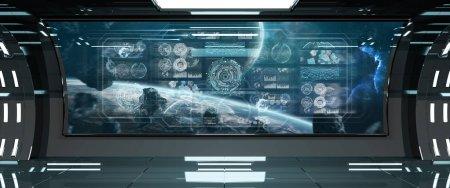 Photo pour Intérieur sombre de vaisseau spatial dans l'espace avec des écrans numériques de panneau de commande rendu 3D - image libre de droit