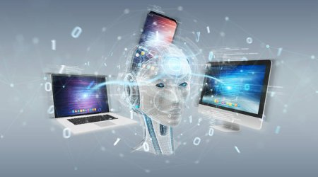 White humanoid controlling modern devices on grey background 3D rendering