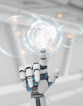 Photo pour Cyborg blanc à la main sur fond flou à l'aide de données numériques rendu 3d interface - image libre de droit
