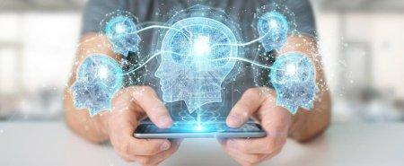 Photo pour Homme d'affaires créant l'intelligence artificielle avec le rendu 3D de téléphone portable - image libre de droit