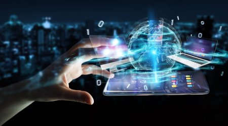 Photo pour Appareils modernes connectés les uns aux autres dans la main femme d'affaires rendu 3D - image libre de droit
