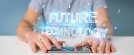 Photo pour Homme d'affaires sur fond flou en utilisant l'interface texte de la technologie future rendu 3D - image libre de droit