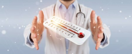 Photo for Doctor on blurred background holding red hot digital thermometer 3D rendering - Royalty Free Image