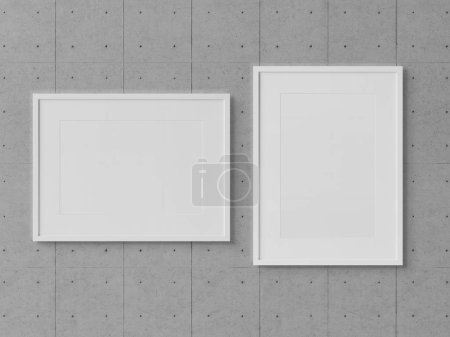 White rectangular frames hanging on a concrete wall mockup 3D rendering