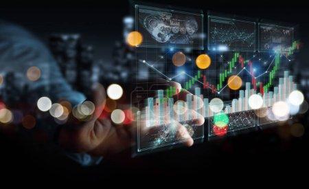 Photo pour Homme d'affaires sur fond flou en utilisant le rendu 3D des données boursières et des graphiques - image libre de droit