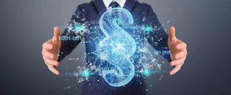Photo pour Homme d'affaires sur fond flou en utilisant le rendu 3D numérique paragraphe symbole de la loi - image libre de droit