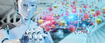 Cyborg on blurred background creating and analyzing nanovirus 3D rendering