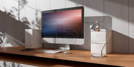 Computer and devices on modern wooden desk bright interior 3D rendering