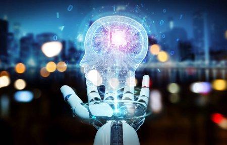 Photo pour Cyborg sur fond flou créant une intelligence artificielle rendu 3D - image libre de droit