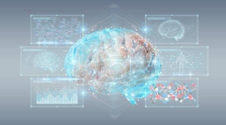 Photo pour Projection 3d numérique d'un cerveau humain sur fond gris rendu 3d - image libre de droit