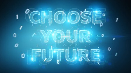 Photo for Future decision text interface on blue background 3D rendering - Royalty Free Image
