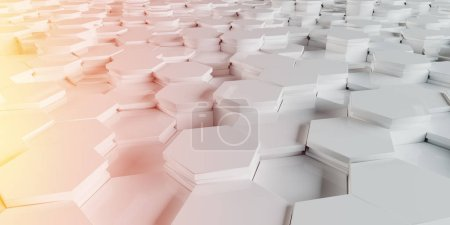 White and orange abstract hexagons background pattern 3D rendering