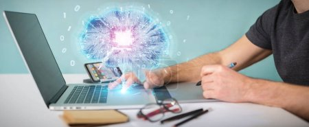 Photo for Graphic designer in office creating artificial intelligence in a digital brain 3D rendering - Royalty Free Image