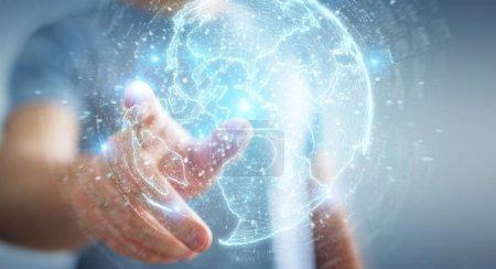Photo pour Homme d'affaires sur fond flou en utilisant l'hologramme du réseau globe avec l'Amérique Usa map 3D rendering - image libre de droit