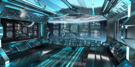 Blue spaceship interior in space with control panel screens 3D rendering