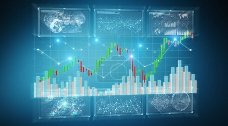 Photo for 3D rendering stock exchange datas and charts illustration on blue background - Royalty Free Image