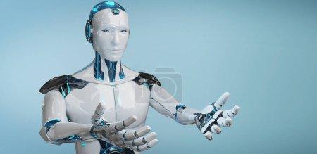 Photo pour Cyborg mâle blanc ouvrant ses deux mains isolées sur fond bleu rendu 3D - image libre de droit