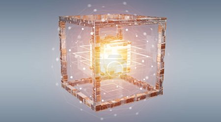 Futuristic cube technology textured object on blue background 3D rendering