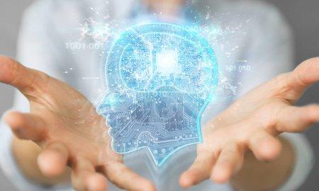 Photo pour Femme d'affaires sur fond flou création d'intelligence artificielle rendu 3d - image libre de droit