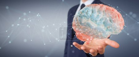 Photo for Businessman on blurred background using using digital 3D projection of a human brain 3D rendering - Royalty Free Image