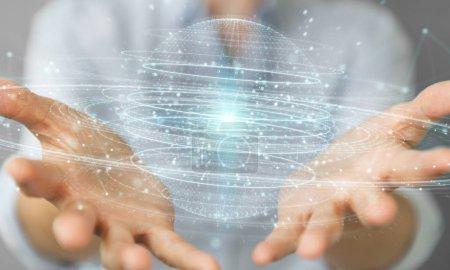 Foto de Empresaria en el fondo borroso con esfera digital conexión render 3d holograma - Imagen libre de derechos