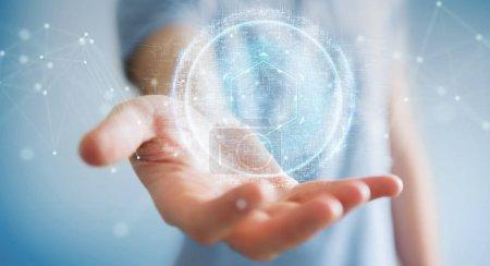 Businessman on blurred background using digital sphere connection hologram 3D rendering