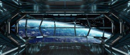 Photo pour Intérieur sombre vaisseau spatial avec vue sur la planète Terre des éléments de rendu 3d de cette image fournie par la Nasa - image libre de droit