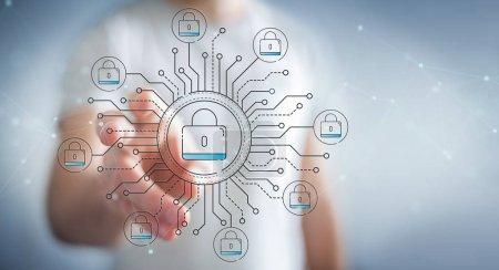 Photo pour Homme d'affaires sur fond flou protégeant ses données avec une interface de sécurité de ligne mince - image libre de droit