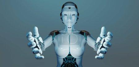 Photo pour Femme blanche cyborg ouvrant ses deux mains isolées sur fond bleu foncé rendu 3D - image libre de droit