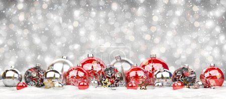 Red and silver christmas baubles on grey background 3D rendering