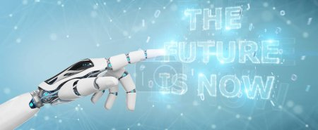 White cyborg hand on blurred background using future decision text interface 3D rendering