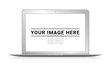 Photo for Front view of isolated modern laptop with shadow 3d rendering - Royalty Free Image