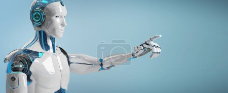 Photo for White male cyborg pointing his finger isolated on blue background 3D rendering - Royalty Free Image