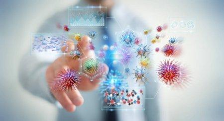 Photo pour Homme d'affaires sur fond flou analyse bactérienne microscopique gros plan rendu 3D - image libre de droit