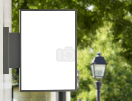Photo for Store sign mockup on a building in natural city 3D rendering - Royalty Free Image