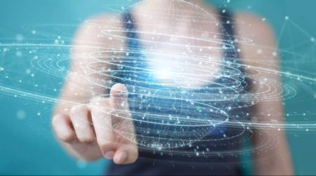 Photo pour Femme d'affaires sur fond flou à l'aide de la connexion numérique sphère rendu 3d hologramme - image libre de droit