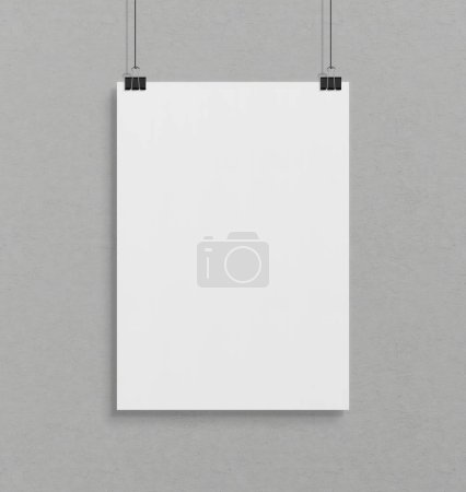 Photo for Blank white poster hanging up with in front of concrete wall clips mockup - Royalty Free Image