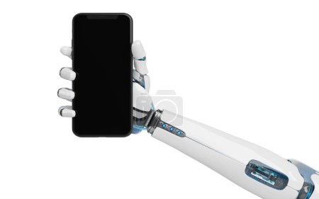 Photo for White robot hand holding modern smartphone mockup on white background 3d rendering - Royalty Free Image