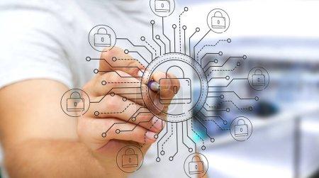 Photo pour Homme d'affaires sur fond flou dessin mince ligne interface de sécurité web - image libre de droit