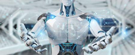 Photo pour Robot de l'homme blanc sur fond flou à l'aide de la connexion réseau numérique rendu 3d - image libre de droit
