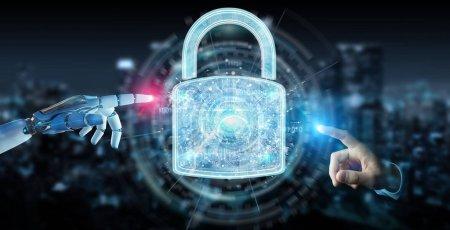 Photo pour Interface de protection de sécurité Web utilisée par le robot sur fond flou rendu 3D - image libre de droit
