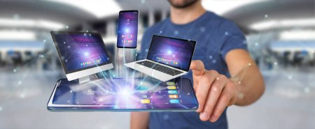 Photo for Modern devices connected to each other in businessman hand 3D rendering - Royalty Free Image