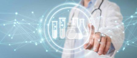 Photo pour Docteur sur fond flou tenant des icônes de résultat d'analyse numérique rendu 3D - image libre de droit